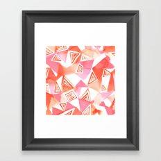 Geo Triangle Peach Framed Art Print