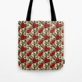 Pomegranate - Red and Green Doodle Pattern with Cream Background Tote Bag