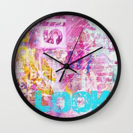 colorful mixed media typography Wall Clock