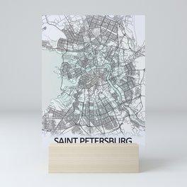 Saint Petersburg, Russia, White, City, Map Mini Art Print
