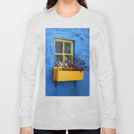 FLOWER - BOX - YELLOW - BLUE - WALL - PHOTOGRAPHY Long Sleeve T-shirt