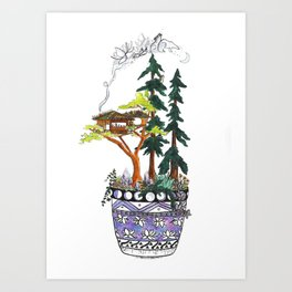 Forest Tree House - Woodland Potted Plant Art Print