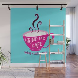 Grind Me Cafe - Blue Wall Mural