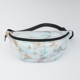 Soft Whites, Aquas and Blush of Pink and Rose Gold Veins Marble Fanny Pack