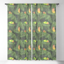 Lovebird Parrots in Green Palm Leaves on Black Sheer Curtain