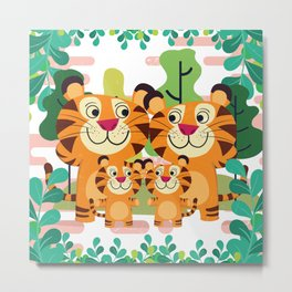 tiger family cute cartoon design Metal Print