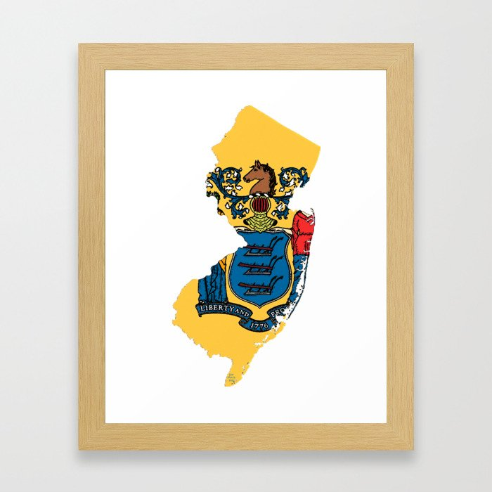 New Jersy Map with State Flag Framed Art Print