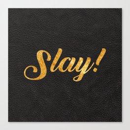 Slay Gold Metallic Typography Leather Background Canvas Print
