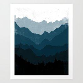 Mists No. 6 - Ombre Blue Ridge Mountains Art Print Art Print