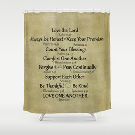 Christian Faith Family Rules w/Scripture Reference Shower Curtain