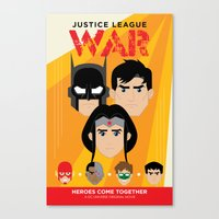 justice league Canvas Prints featuring Justice League: War by Winged Bomb