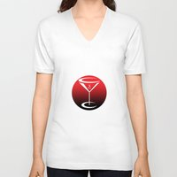 martini V-neck T-shirts featuring martini by daniel