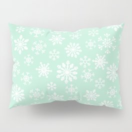 minty snow flakes Pillow Sham