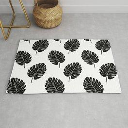 Monstera Leaf Pattern (black/white) Rug