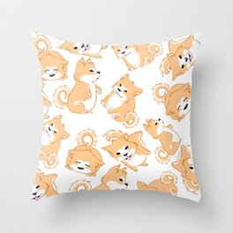 Chubby Shibas Throw Pillow