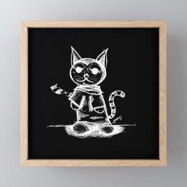 black cat kuroneko ecopop Framed Mini Art Print