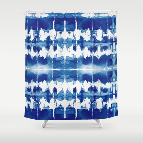 Shibori Tie Dye Indigo Blue Shower Curtain By Simple Luxe