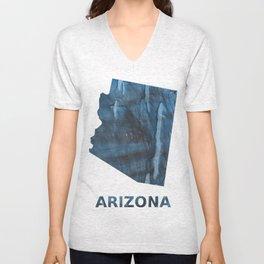 Arizona map outline Dark Gray Blue clouded watercolor pattern Unisex V-Neck