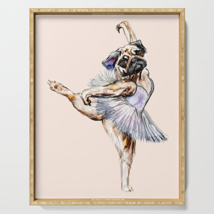 Pug Ballerina in Dog Ballet   Swan Lake  Serving Tray