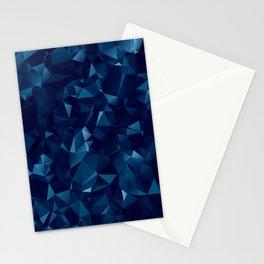 Dark Blue Polygonal Geometric Abstract Stationery Cards