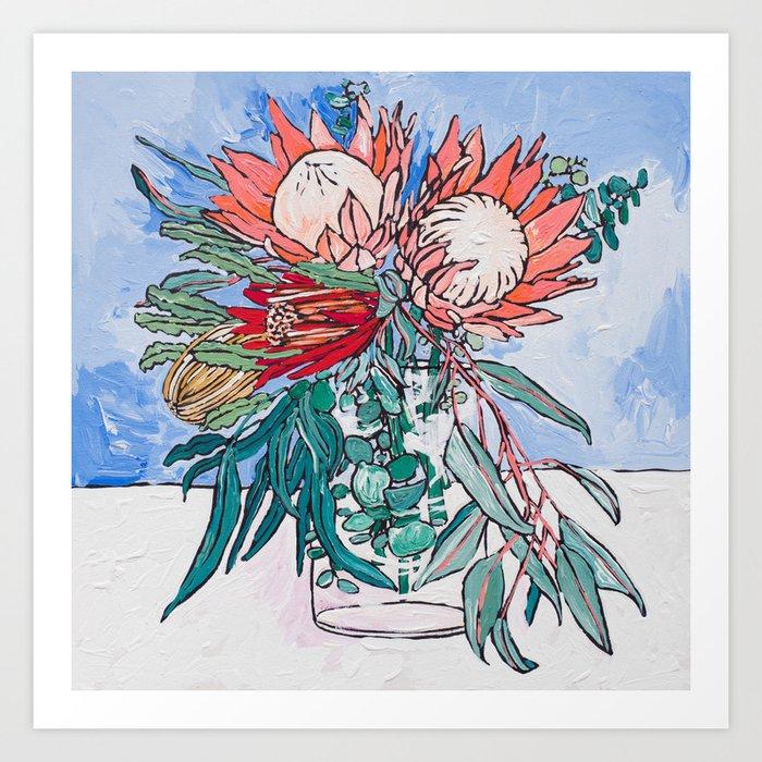 Painterly Vase of Proteas, Wattles, Banksias and Eucayptus on Blue Kunstdrucke