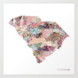 South Carolina map Art Print