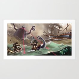 Pirates and Dinosaurs vs Robots and Ninjas Art Print