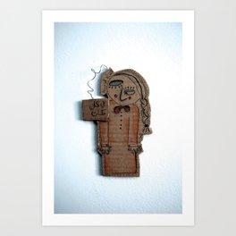 the sad cardboard girl Art Print