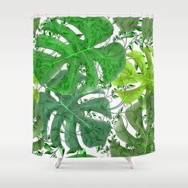 PALM LEAF B0UNTY GREEN AND WHITE Shower Curtain
