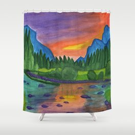 Mountain river in the background of the forest and the blue mountains at sunset Shower Curtain