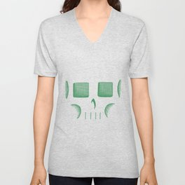 Skull Linework (Green / Dark Blue) Unisex V-Neck