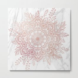 Queen Starring of Mandala-White Marble Metal Print