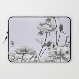 black and white peony i purple background Laptop Sleeve