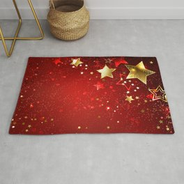 Gold Star on a Red Background Rug