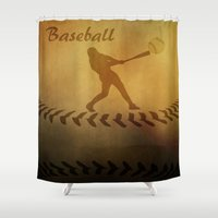 baseball Shower Curtains featuring Baseball by gypsykissphotography