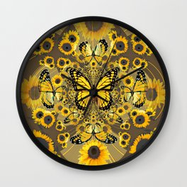 BLACK-GOLD MONARCHS SUNFLOWER ART Wall Clock