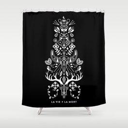 La Vie + La Mort: White Ink Shower Curtain
