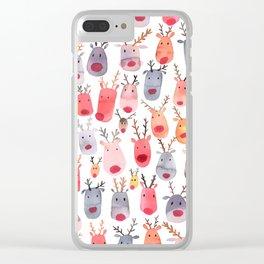 Christmas Winter Cute Reindeers Clear iPhone Case