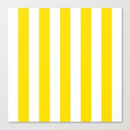 Philippine golden yellow - solid color - white vertical lines pattern Canvas Print
