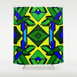 Green and blue graffiti - street art Shower Curtain
