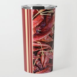 Chilies Stripes pattern red Travel Mug