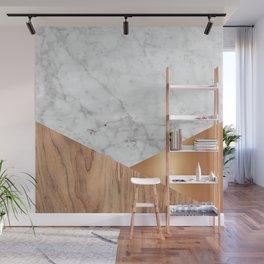 Geometric White Marble - Wood & Rose Gold #761 Wall Mural