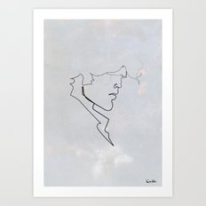 One line Blueberry Art Print