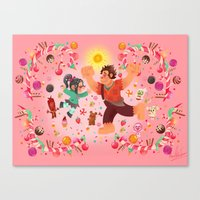 wreck it ralph Canvas Prints featuring Sweet wall painting by princessbeautycase