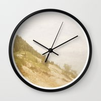 not all who wander Wall Clocks featuring Not All Who Wander by Kimberly Blok