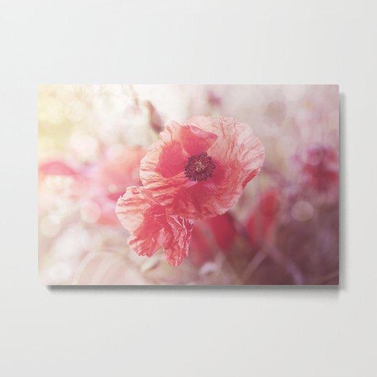 Romantic Poppy flower soft pastel colors Metal Print