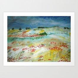 Poppy Field Acrylic Fine Art Van Gogh Interpretation Art Print