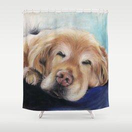 Sweet Sleeping Golden Retriever Puppy by annmariescreations Shower Curtain