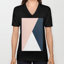 Elegant blush pink & navy blue geometric triangles Unisex V-Neck