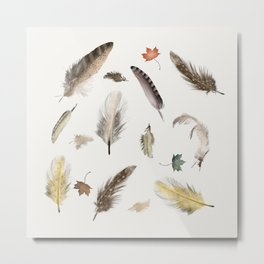 inner nature (feathers and leaves Metal Print